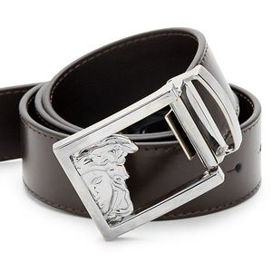 NEW Versace Collection 3D Logo Leather belt Brown